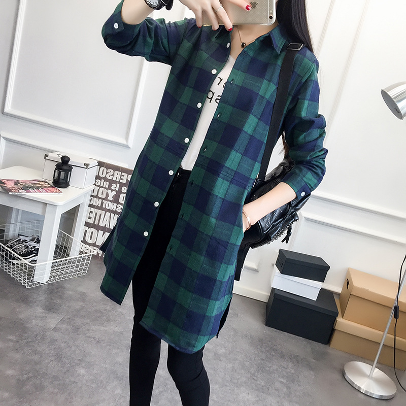 EYM Brand Autumn Women Long Shirt Girlfriend Style Cotton Casual Long Sleeve Red Flannel Plaid Shirt Blouses Female Tops Blusas