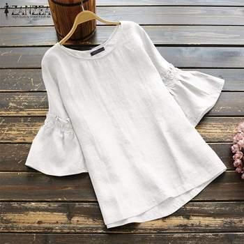 2019 ZANZEA Vintage Ruffle Sleeve Tops Summer Women's Blouse Casual Linen Tunic Female O Neck Blusas Mujer Shirt Plus Size S-5XL 2