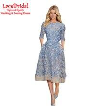 Elegante Blaue Eine Linie Bördelte Spitze Cocktailkleider 2016 mit halben Hülse Tee Rosa Partei Abschlussball-kleider robe de cocktail TC12