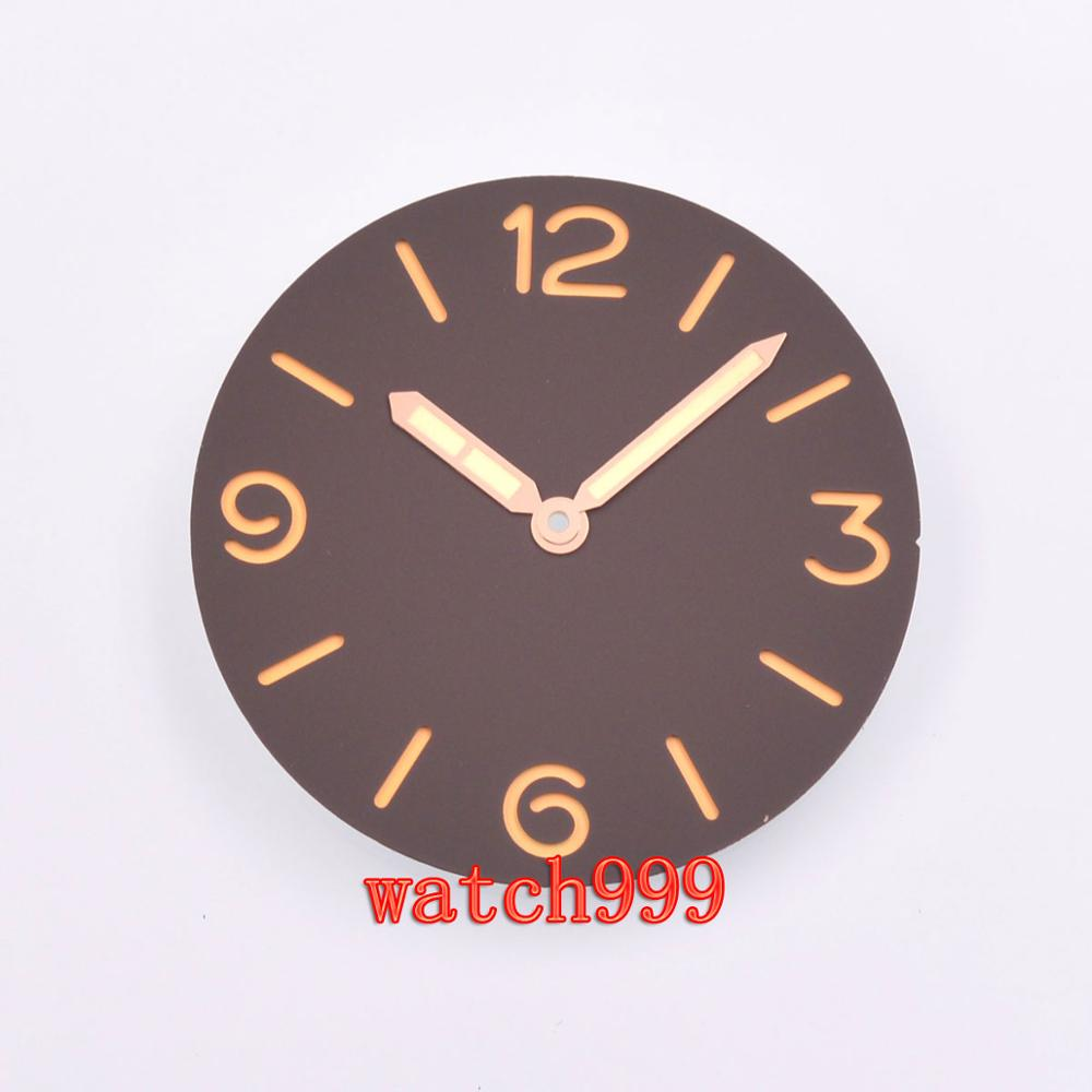 38.9mm parnis sandwich Black Dial Sterile watch dial Rose gold hands fit ETA 6497 6498 <font><b>ST3600</b></font> movement image