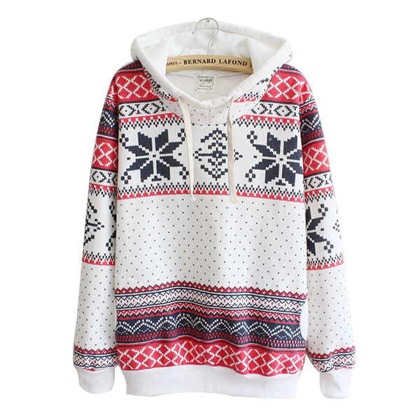 Herfst Winter Dames Xmas Sneeuwvlok Sweatshirt Hoodies Top Sweats - Dameskleding