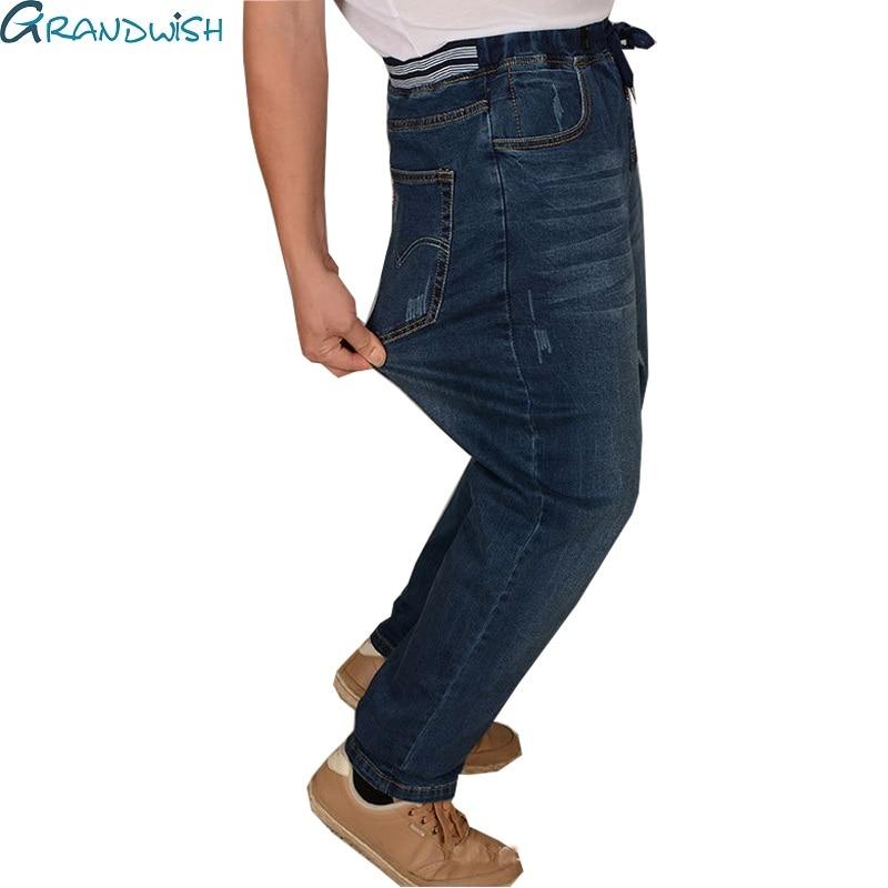 Grandwish Men's Loose Straight Jeans Plus Size 5XL Mens Strech Denim Jeans Elastic Waist Mens Jeans Baggy Fit Full Length ,PA822