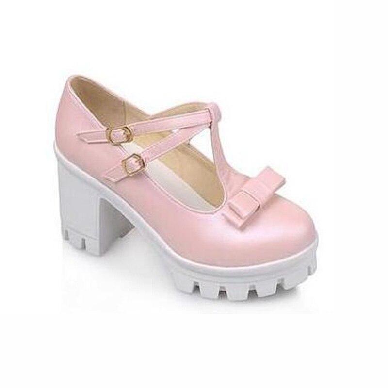 Haute Lolita Carré Plates Bout Heel Bowtie 43 Sangle Boucle Plus 34 formes Blue Chaussures La Heel Taille Pompes Heel pink white Rond Talon Talons sangle Femmes T nx6SdUCC