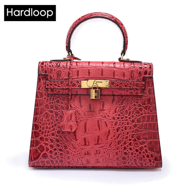 Hardloop Brand Design Women Alligator Split Leather Top-handle Bags Lady Fashion