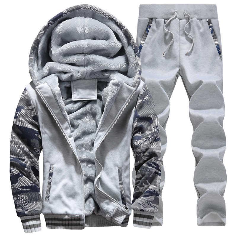 2 pc 자켓 + 바지 남성 moleton masculino tracksuit 남성 겨울 위장 후드 캐주얼 후드 웜 스웻 셔츠 남성 thicken fleece