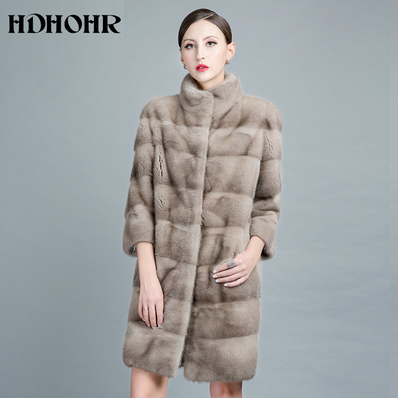 HDHOHR 2019 New Natural Mink Fur Coats For Women Real Mink Fur Coats OutwearPark With Fur High Quality Female Warm Winter Jacket