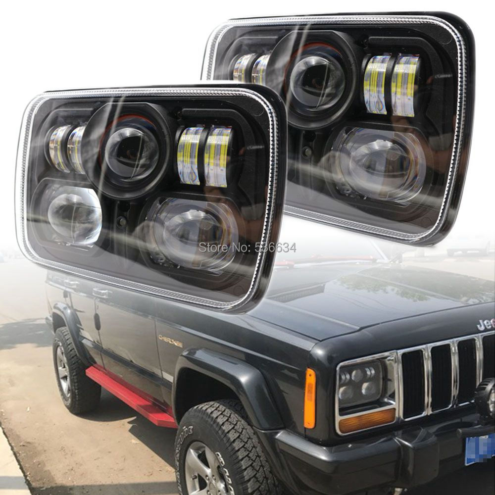 Pair 5 x 7 Sealed Beam Replacement LED Headlight for Jeep Cherokee XJ Wrangler YJ H6054 H6014