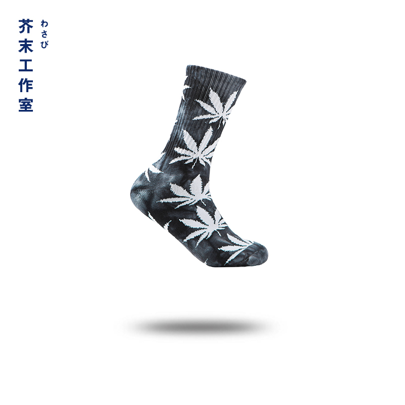 JIEMO 2018 New Arrival Cool Skateboard Hip Hop Leaf Fashion Brand Fashion Designer Socks Men Boys Male High Street 908AI2017