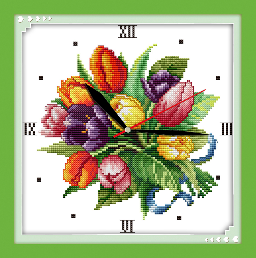 Joy sunday Tulip clock face counted free wall clock cross stitch pattern christmas decorations for home
