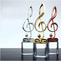 High quality!Musical Note Shaped Metal Trophy Music Competitions Awards Singing Contest Champion Award Cup Concert Souvenir