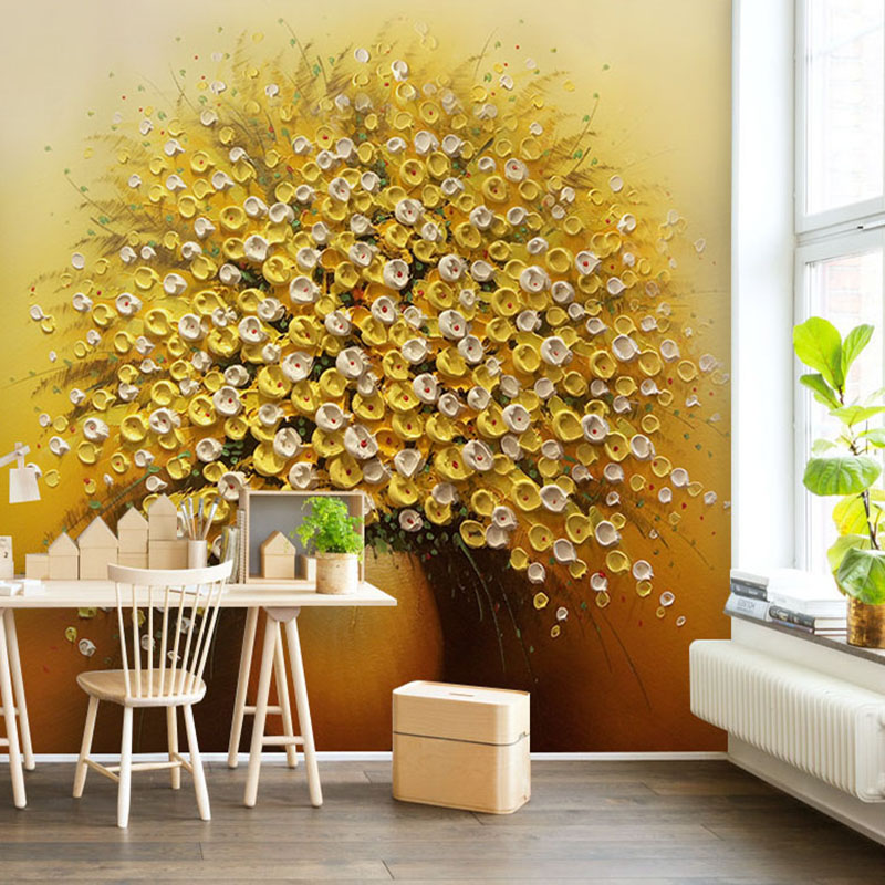 Photo Wallpaper 3D Stereo Gold Flowers Vase Oil Painting Mural Living Room Hotel Entrance Background Wall Papers Papel De Parede custom photo wallpaper luxury 3d stereoscopic vase entrance corridor aisle backdrop wall decoration painting mural de parede 3d