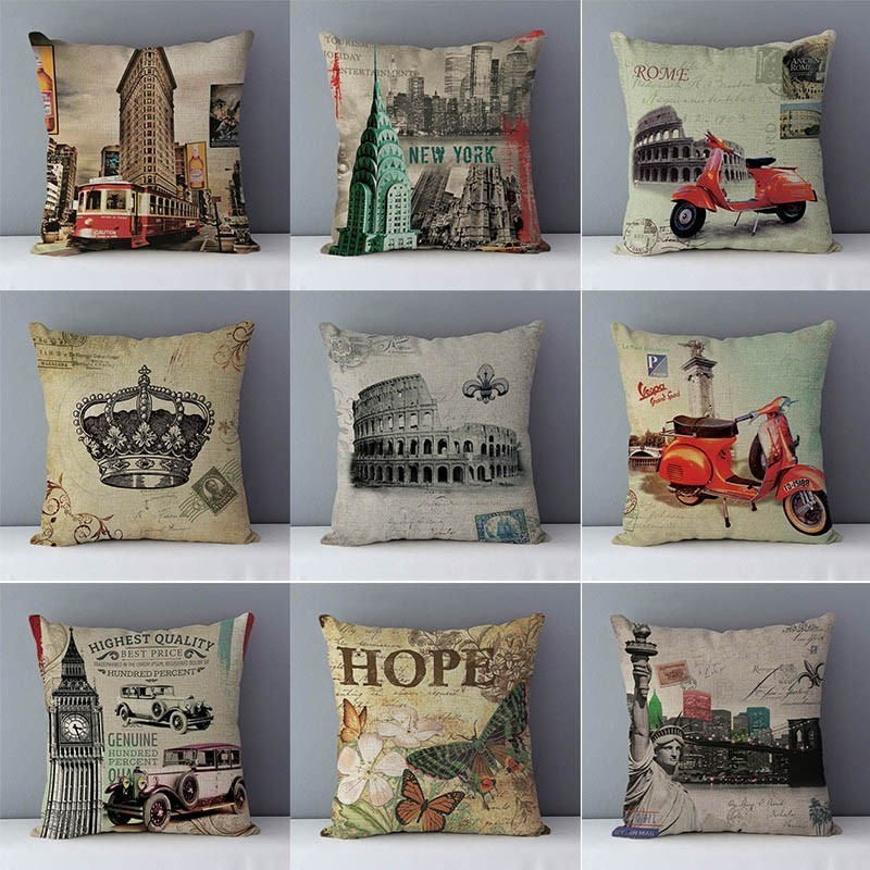 Surprising Us 3 14 51 Off Home Decorative Couch Cushion New Classical Europe Scenic Building Printed Bedding Pillows Seat Cushions Cotton Linen Pillowcase In Alphanode Cool Chair Designs And Ideas Alphanodeonline