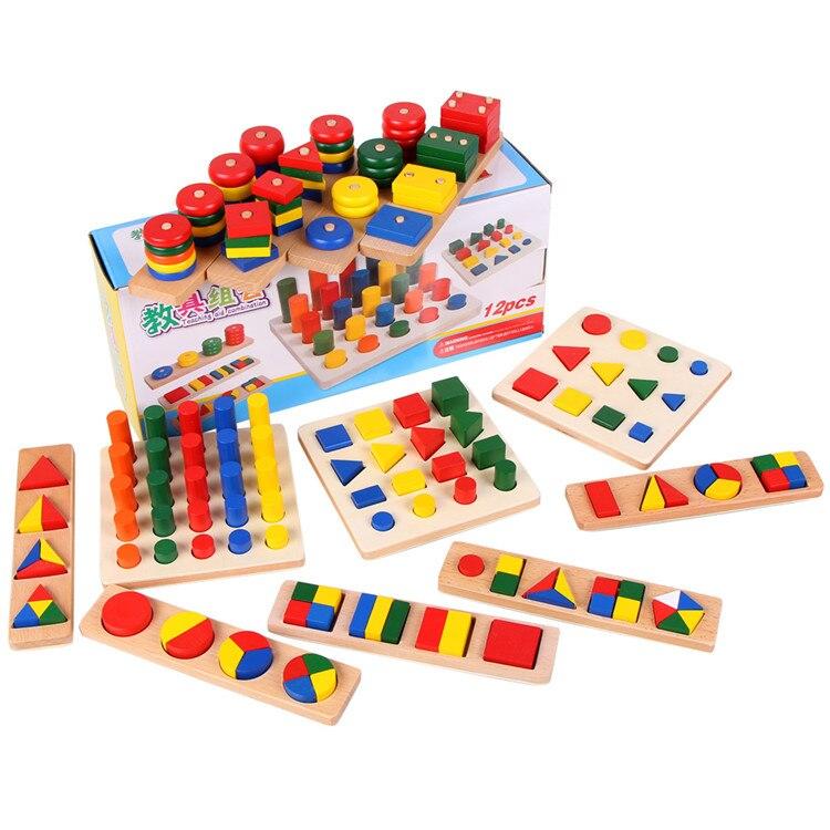Enfants Montessori aides pédagogiques préscolaire géométrie apprentissage blocs en bois 12 pièces/ensemble enfants montessori mathtoys