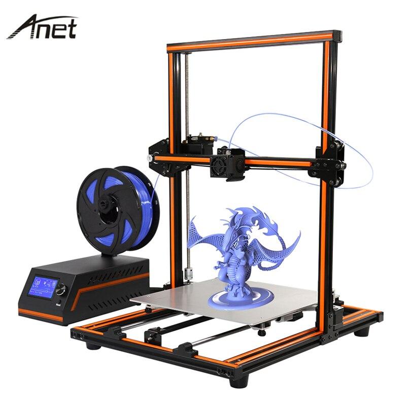2017 Anet Aluminum E12 E10 Reprap i3 impressora 3D Printer DIY Imprimant 3D Kit Large Print Size Gift Filament SD Card flsun 3d printer big pulley kossel 3d printer with one roll filament sd card fast shipping