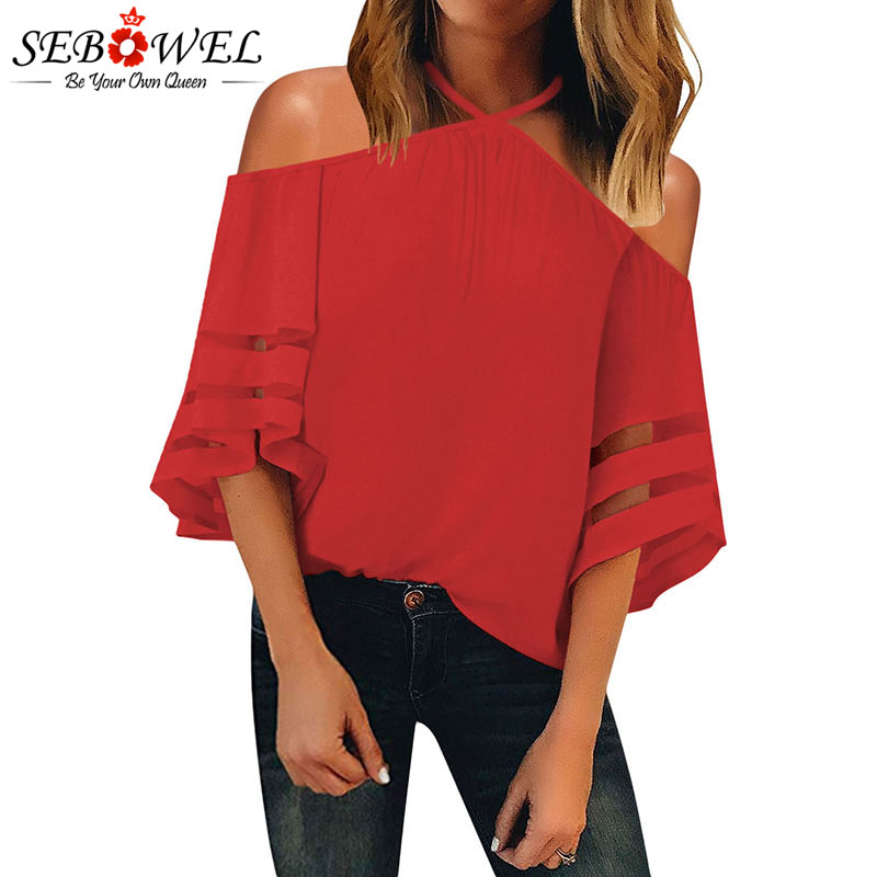 SEBOWEL Red/Black Halter   Blouses     Shirts   for Woman Summer New 2019 Female Plus Size S-XXL White Cold Shoulder   Blouse   Ladies Tops