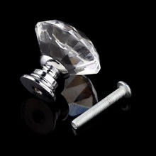10Pcs/pack 30mm Diamond Shape Crystal Glass Drawer Cabinet Knobs