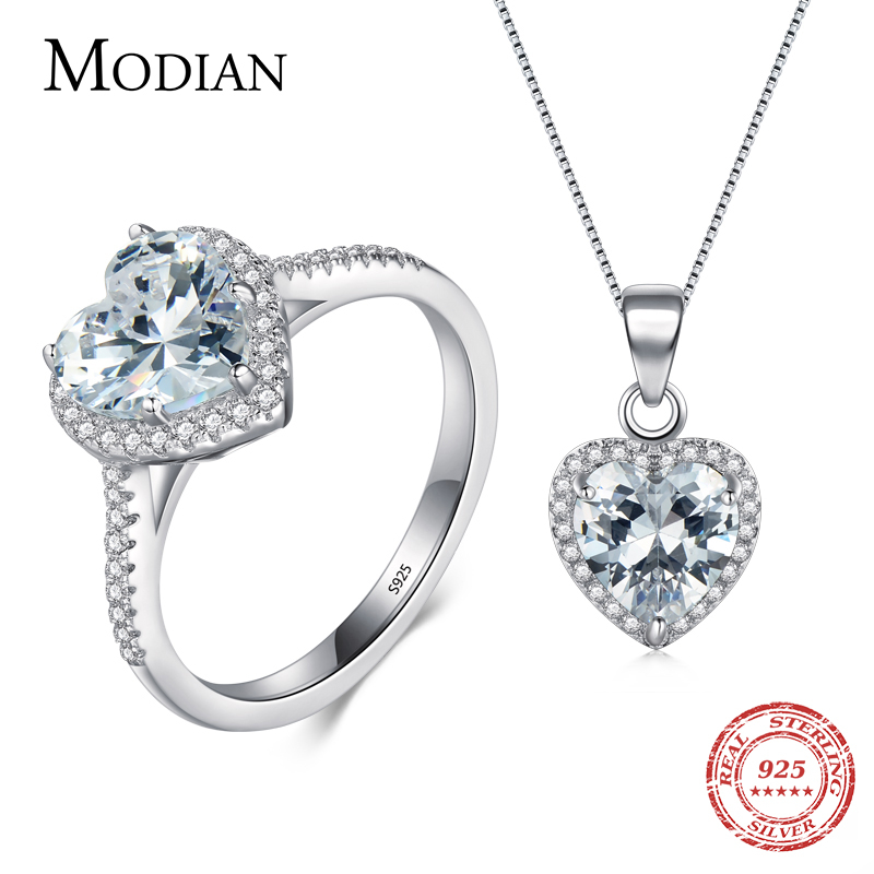 Modian New Design Solid 925 Sterling Silver Sets Jewelry Ring Necklace Wedding Natural Crystal Pendant Fashion Chain For Women