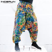INCERUN 2018 Men Harem Pants Ethnic Print Big Crotch Vintage Hip-hop Trousers Men Women Loose Elastic Waist Nepal Pants M-5XL