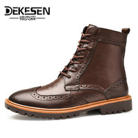 DEKESEN Brand Motorcycle Warm Mens Winter Shoes Genuine Leather Brogue Mens Ankle Boots Rubber Snow Boots