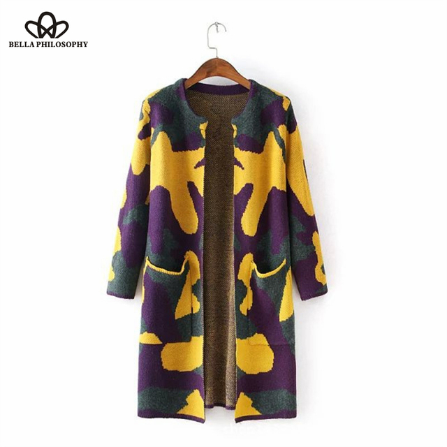 2016 autumn winter new leisure simple camouflage print long-sleeved knit long sweater coat Cardigan purple yellow gray