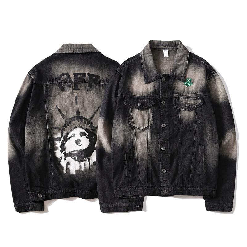 Hip Denim Black Vestes Streetwear X1391 Broderie Hommes Aboorun Manteau Pour Imprimé Mens Printemps Les Mode Hop Automne Jeans w80PXnOk