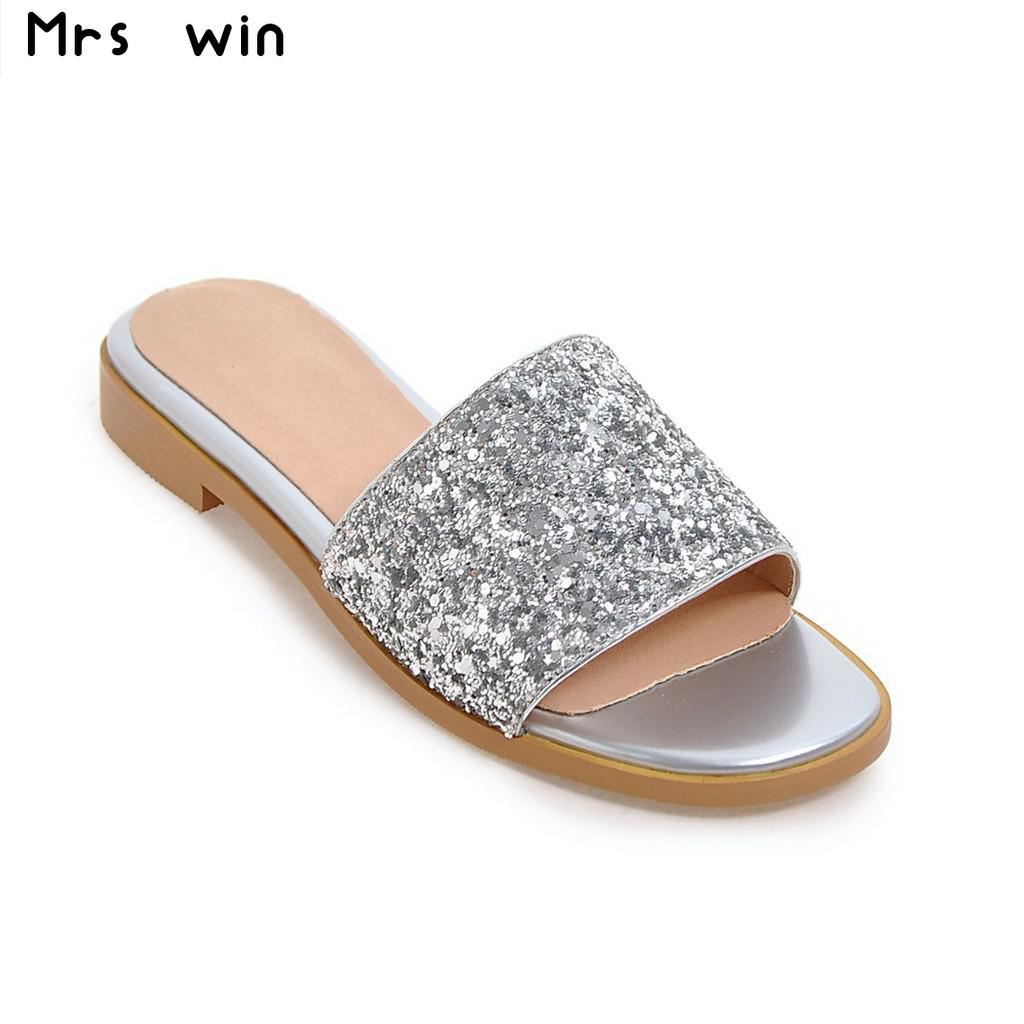 Women's sandals with bling - 2017 New Summer Shoes Women Flat Sandals Women Bling Women Slippers Sweet Women Sandals China