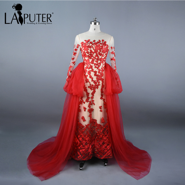 Real Photos Sheer O Neck Tulle Red Evening Dress With Puffy