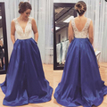 V Neck Prom Dresses 2017 Beaded Satin A Line Cheap Graduation Dresses Elegant Blue Backless Formal Dress Vestidos De Noche