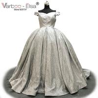 VARBOO ELSA Vestido De Festa Silver Sequined Ball Gown 2018 Sexy Off Shoulder Sweetheart Prom Dress