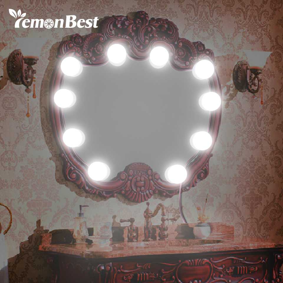Hollywood Style Led Make Up Vanity Mirror 10-bulb Light Stepless Dimmable Touch Control Waterproof Diy Dressing Table Light Terrific Value Led Lamps Led Indoor Wall Lamps