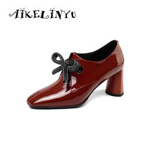 AIKELINYU Top Quality High Heels Genuine Leather Square Head Party Shoes Woman Lace-ups Spring Autumn Brand Office Pumps Shoes цена 2017