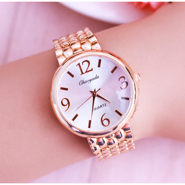 2018 women office ladies rose gold stainless steel luxury quartz wristwatch girl