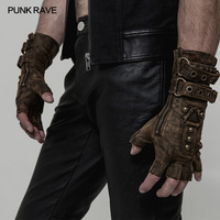 Punk Rave Mens Punk Gloves Rock Fingerless Gloves Military Dieselpunk Motocycle Streetwear Style Personality Accessories