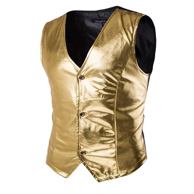 MEBOSYA 2016 Coletes Slim Fit Homens Da Moda Traje Brilhante Único Breasted Coletes Sem Mangas Causal Jaqueta Terno Homens Colete Outwear