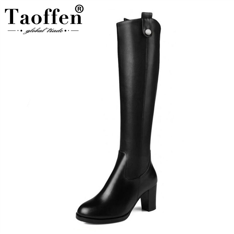 TAOFFEN Women Natural Leather Knee Boots Winter Snow Boots Square Heel Fashion Zipper Women Riding Boots