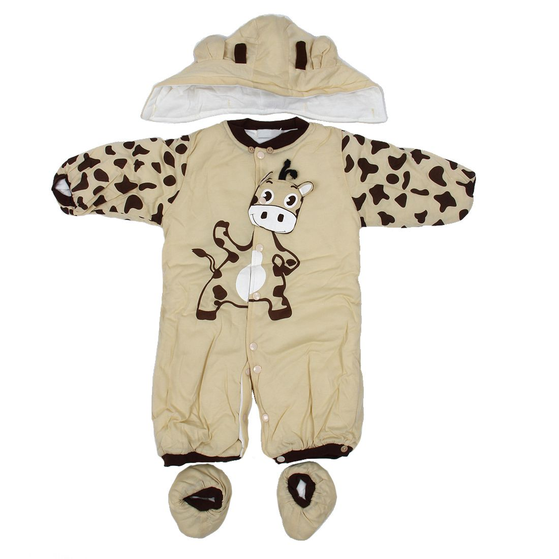 new Autumn Winter Clothing sets Cartoon Animal Style Cotton-padded Baby boys Rompers Cows Warm Kids girls badys