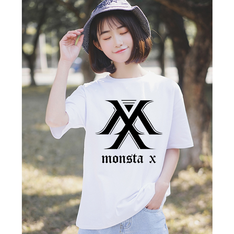 100% cotton korean tee shirt femme graphic print women tshirt vogue t shirt big size monsta x t-shirt womens clothes 2019