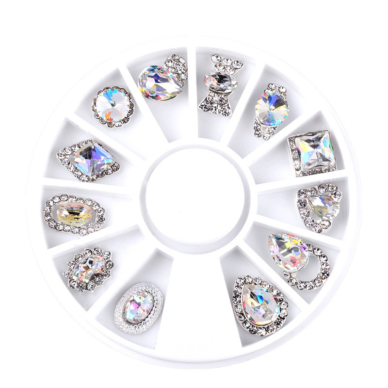Nail Art Wheel Rhinestone Diamond Gems Metal AB Crystal Glitter 3D Tips Accessoires Jewelry Manicure Tools Decoration DIY Design