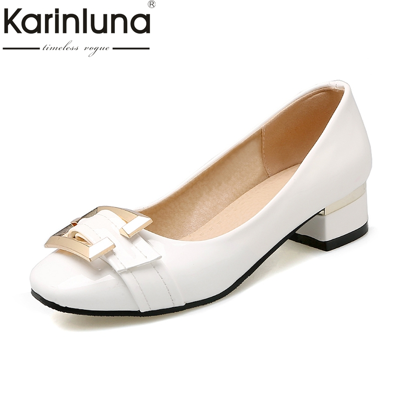 Karinluna Large Size 32-48 Customized Slip On Buckle Women Shoes Pumps Chunky Low Heels Square Toe Red Pumps Shoes Woman цена 2017