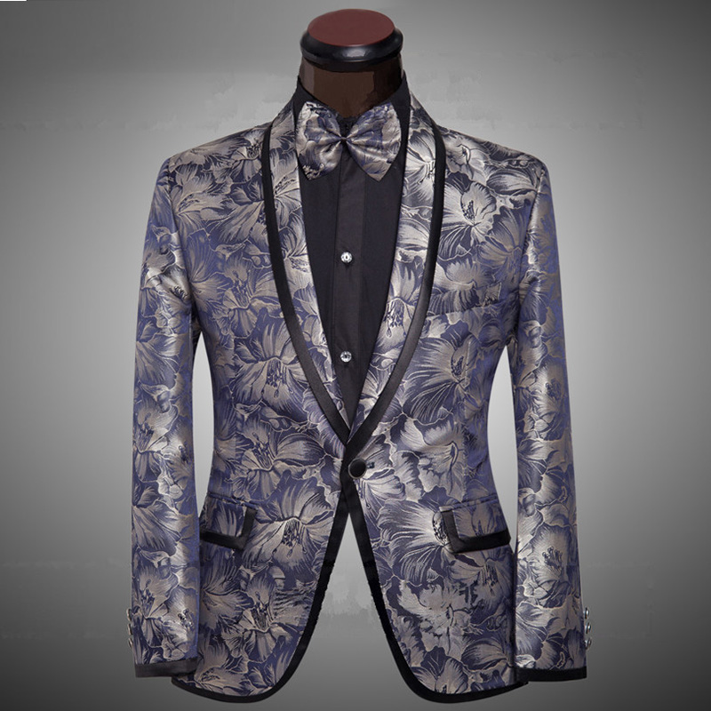 2019 Brand Clothing Luxurious Purple Suits Mens Printing Blazer Casual Floral Jaqueta De Luxo Blazer Jackets For Men
