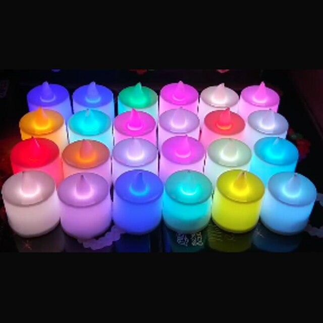 5 pcs Battery Powered LED Nến Nhiều Màu Đèn Màu Sắc Mô Phỏng Ngọn Lửa Nhấp Nháy Nội Thất Ánh Sáng Tea Wedding Birthday Party Trang Trí