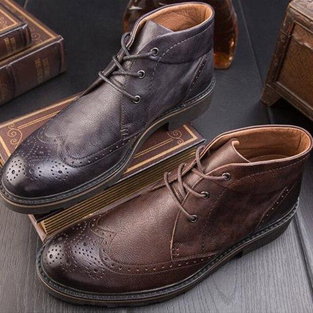 Sepatu tinggi Pria Pria Inggris Retro pria Martin Sepatu Boots Kulit Kasual  Bullock Diukir Sepatu pria 6d6a86e861