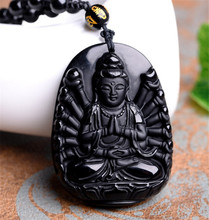 Natural Obsidian Carving Thousand Hands Of Guanyin Buddha Pendant Women Men's Lucky Amulet Jewelry Pendants With Beads Necklace obsidian necklace natural stone wolf head pendant buddha guardian ball chain carving amulet with obsidian blessing lucky jewelry