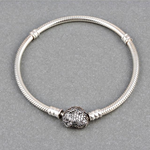 Zmzy genuine 100% prata esterlina 925 pulseiras charme para as mulheres jóias com coração clipe fecho pave completa cubic zirconia