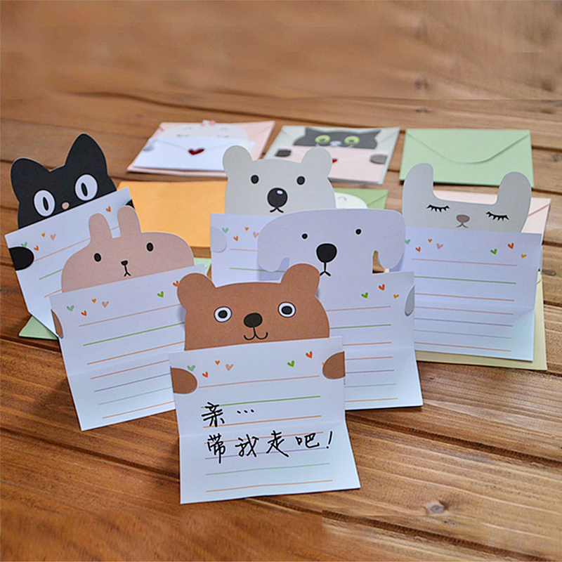9 Pcs Animal Cute Greeting Cute Animal Message Cards Mini Envelope Party Supply 30pcs in one postcard take a walk on the go dubai arab emirates christmas postcards greeting birthday message cards 10 2x14 2cm