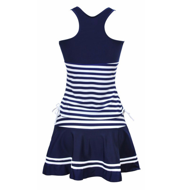 Sporty Style Navy Stripes Two Pieces Dress Tankini