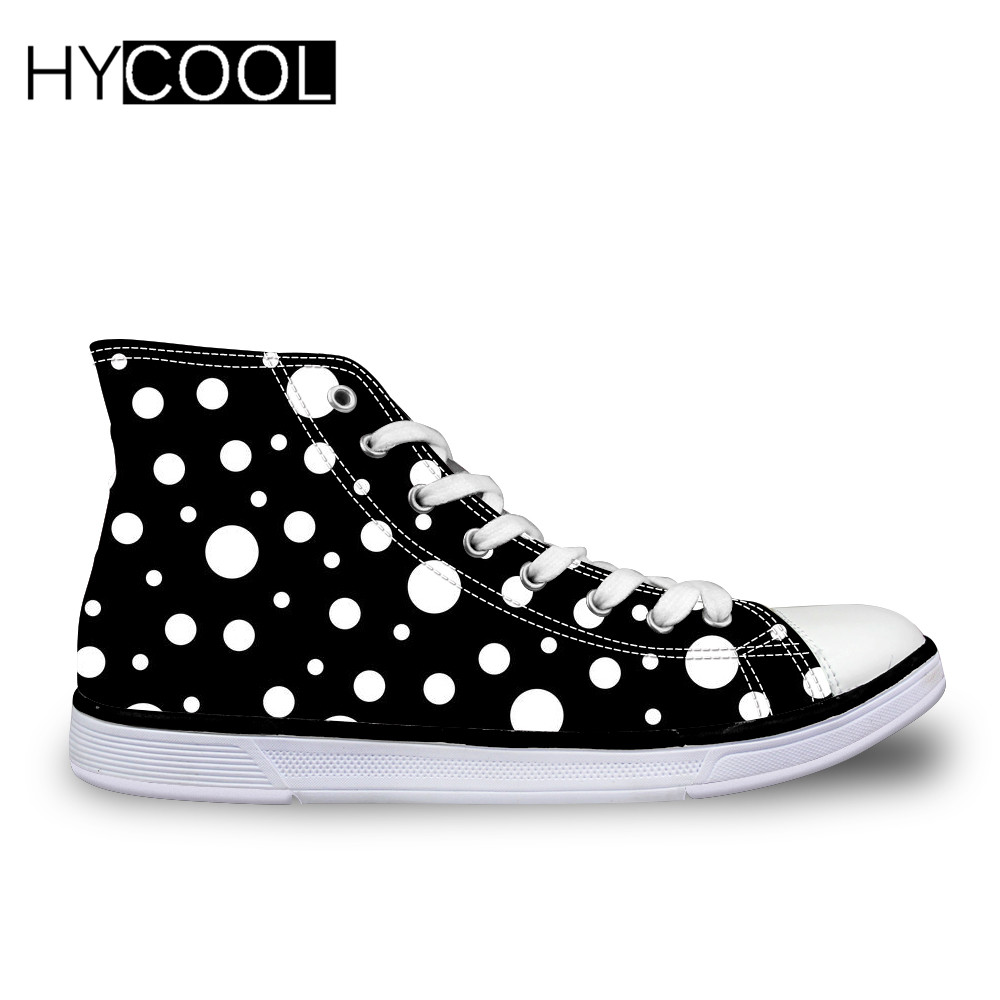 HYCOOL Kids Canvas Shoes White On Black Polka Dot Pattern Sneaker For Outdoor High Top Walking Children Sport Shoes Running BootHYCOOL Kids Canvas Shoes White On Black Polka Dot Pattern Sneaker For Outdoor High Top Walking Children Sport Shoes Running Boot