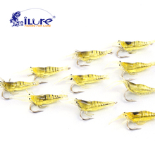 10 parts / los 45mm 2g Lifelike Fishing Lures Soft Artificial shrimp bait soft curls Hook shrimp soft bait Lure Souple Pesca