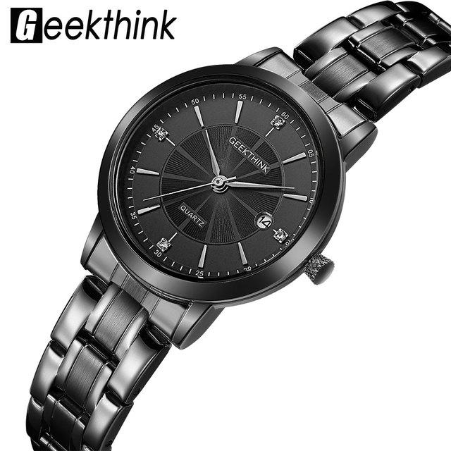 580ea4a414a9 GEEKTHINK Top Luxury Brand Black Stainless Steel Quartz Watch Women Dress Ladies  Wristwatch Lover s Gift Female