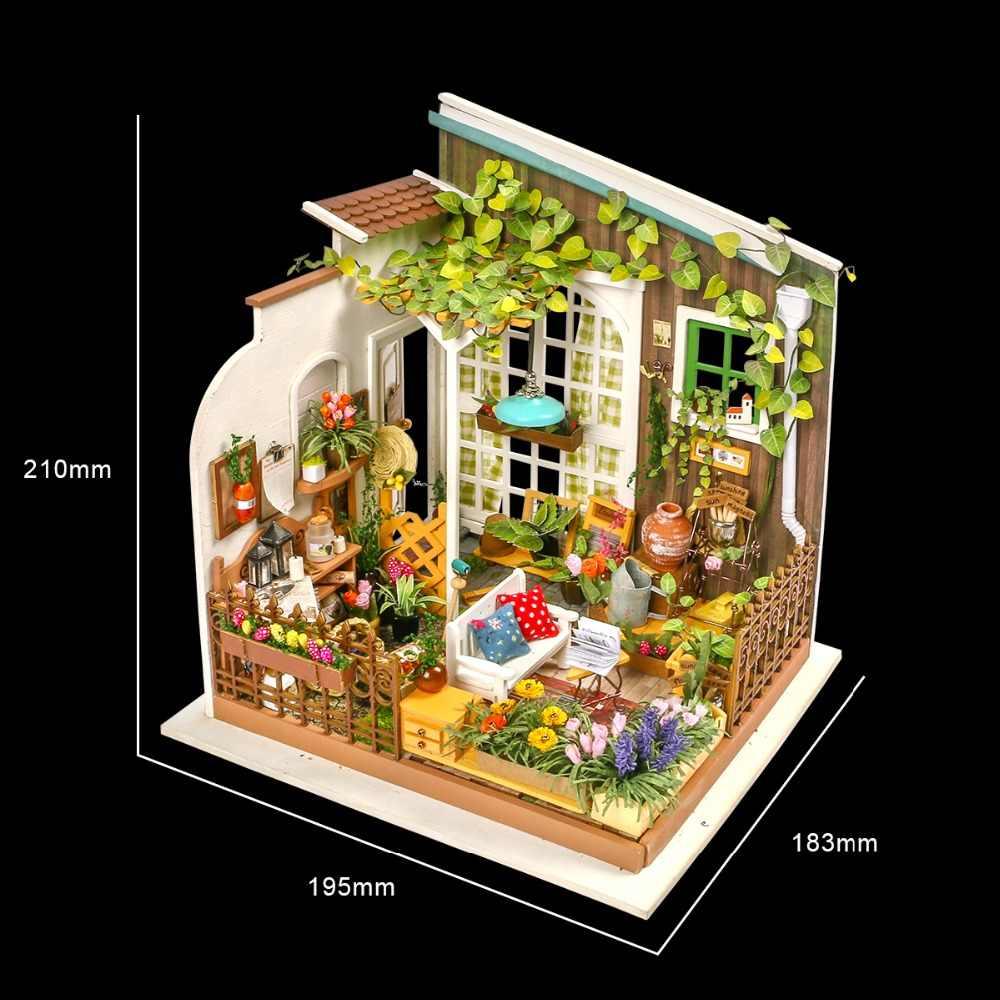 Robotime di Miller Giardino FAI DA TE Casa di Bambola di Legno casa Delle Bambole In Miniatura di Costruzione di Modello Kit di Montaggio Giocattoli DG108 Trasporto di Goccia
